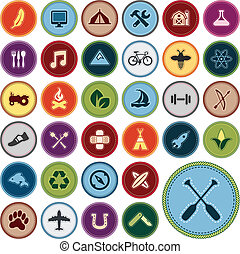 Merit badges - Set of scout merit badges for outdoor and...