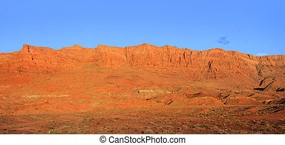 Vermillion cliffs - Panoramic view of bright orange...