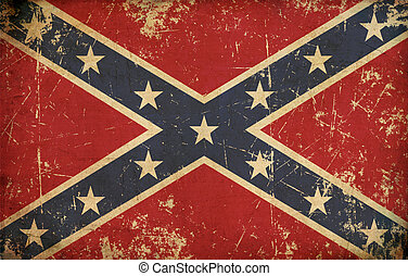 Stars and Bars - Old, scratched Confederate rebel battle...