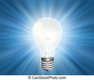 Bright idea - Illustration of an illuminated light bulb