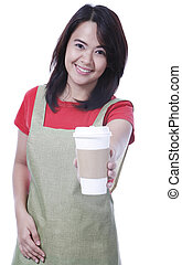 Your Coffee - A young waitress serving a drink in a...