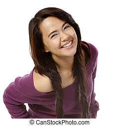 Happy Young Lady - A young attractive woman with a big smile...
