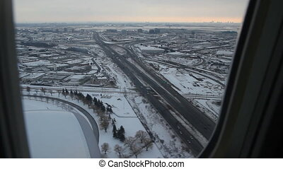 Toronto winter final approach. 1of2 - Commercial jet flying...