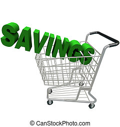 Savings - Word in Shopping Cart - The word Savings in a...