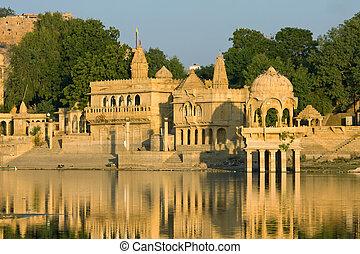 Gadi Sagar Gate, Jaisalmer, India - Stone tower in sacred...