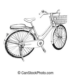 Old bicycle - sketch illustration hand drawn - The abstract...
