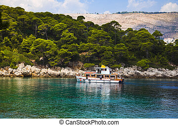 Boat and island in Croatia