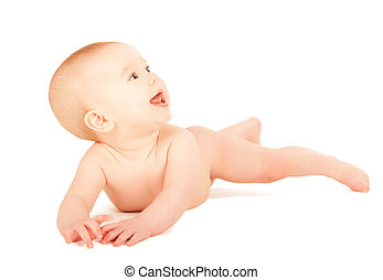 happy naked baby looking up isolated