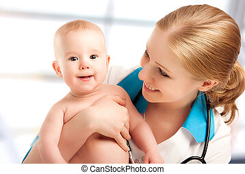 Pediatrician doctor and patient - small child - Pediatrician...