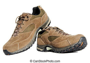 new hiking boots on white background - A pair of new winter...