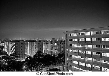 Singapore buildings skyline b & w - View of Singapore's...