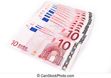 10 euros 2 - Ten euro banknotes isolated on a white...