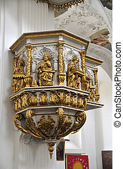 church in Tegernsee - pulpit of the church of the monastery...