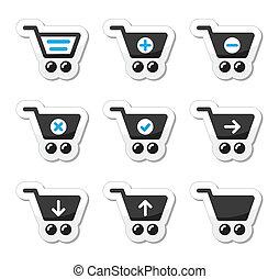 shopping, carreta, vetorial, ícones, jogo
