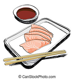 Japanese Cuisine - food sketch hand drawn - The abstract of...