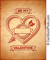 Valentines Day card with cupids arrow - Valentines Day card...