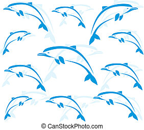 Wallpaper images of dolphins - vector