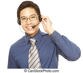 How Can I Help You - A smiling young man wearing a headset...