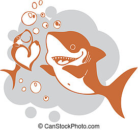 Valentines Day - vector illustration. - Sharks and heart -...