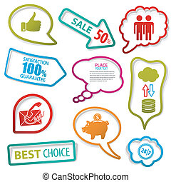 Speech Bubbles - Set of speech and thought bubbles with...