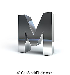 Metal Alphabet Character M - 3D Illustration of Metal...
