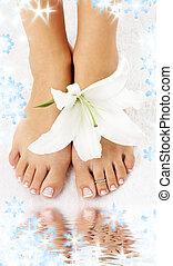 pés, madonna, lírio, água