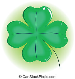 Four Leaf Shamrock - A very lucky green Irish 4 leaf...