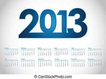 2013 year vector calendar with special design