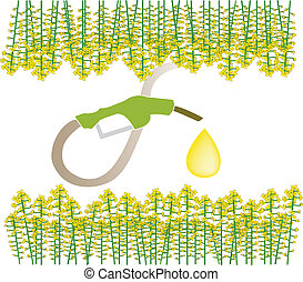Biofuel - An illustration of pumping the fuel from raps, the...
