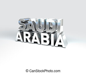 3D Country Text of SAUDI ARABIA - 3D Illustration of Country...
