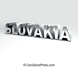 3D Country Text of SLOVAKIA - 3D Illustration of Country...
