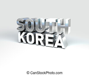 3D Country Text of SOUTH KOREA - 3D Illustration of Country...