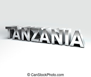 3D Country Text of TANZANIA - 3D Illustration of Country...