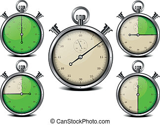 stop watch - illustration of a metal framed stop watch with...