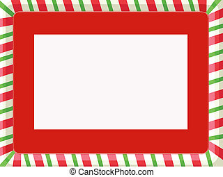 Christmas Frame - Red, green, and white striped frame with...
