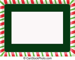 Christmas Frame - Red, white, and green striped frame with...