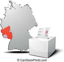 vote germany Rhineland-Palatinate - detailed illustration of...