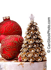 Cristmas decorations with balls and gold cristmas tree