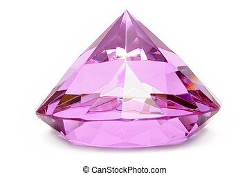 Pink Gemstone - Precious gem isolated on a white background.