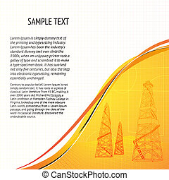 Oil derrick banner for your text. Vector illustration, eps...