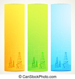 Oil derrick over vertical banner. Vector illustration, eps...