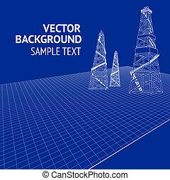Oil derrick over blueprint. Vector illustration, eps 10,...