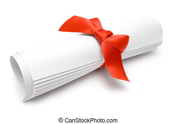 Gift Certificate - Rolled certificate with a red ribbon...