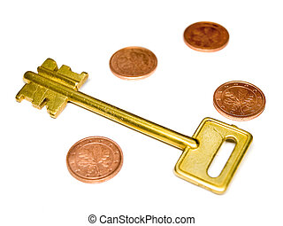 Key with EURO and coins