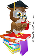 Wise owl reading - An illustration of a wise owl on a stack...