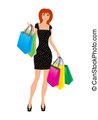 Happy  fashion shopping girl on a white background