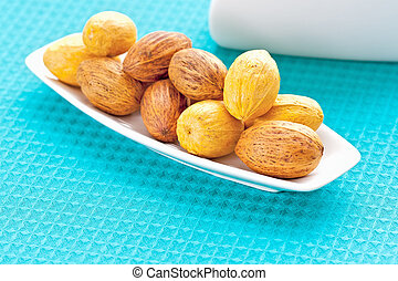 large nuts on a plate