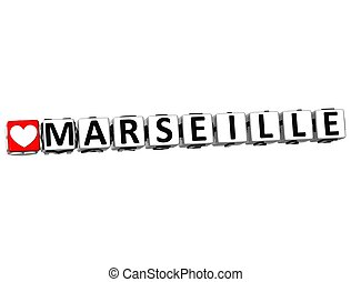 3D I Love Marseille Crossword Block text on white background