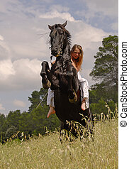 rearing horse and teen