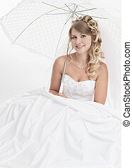 beautiful woman wearing luxurious wedding dress Bride